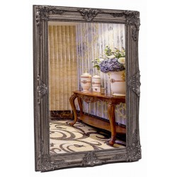 Heavy beveled silver mirror in solid wood, 36x48 ins