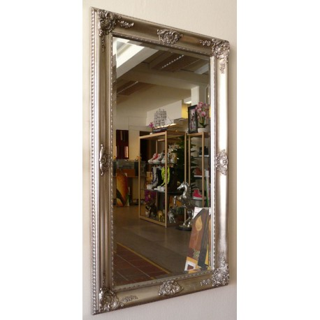 Beveled mirror in solid wood, 26x47 ins