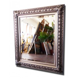 Beveled mirror in solid wood, 47x57 cm
